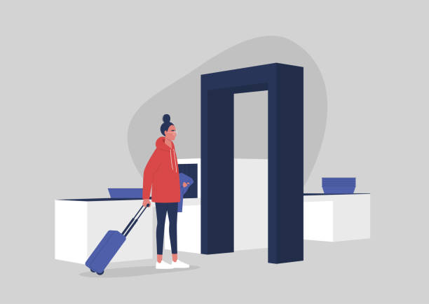 Young female character passing a security control at the airport, travel concept, millennial lifestyle Young female character passing a security control at the airport, travel concept, millennial lifestyle airport silhouettes stock illustrations