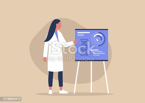 Young female character pointing on a flip chart, biotech startup, new technologies