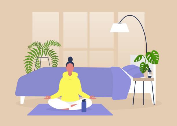 집에서 요가와 명상을 연습하는 젊은 여성 캐릭터, 마음 챙김, 현대 밀레니엄 라이프 스타일 - mindfulness stock illustrations