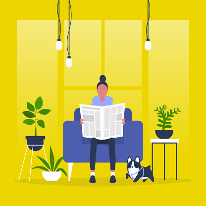 Young female character reading a newspaper. News. Digital vs analog. Lifestyle. Morning habits. Flat editable vector illustration, clip art