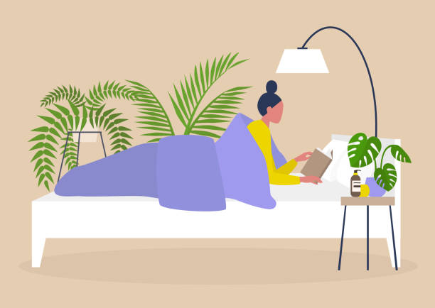 young female character reading in bed, bedroom interior design, millennial lifestyle - bedtime story stock illustrations