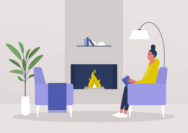 stockillustraties, clipart, cartoons en iconen met jonge vrouwelijke karakterlezing in de woonkamer naast een open haard, gezellig binnenland - woman home magazine