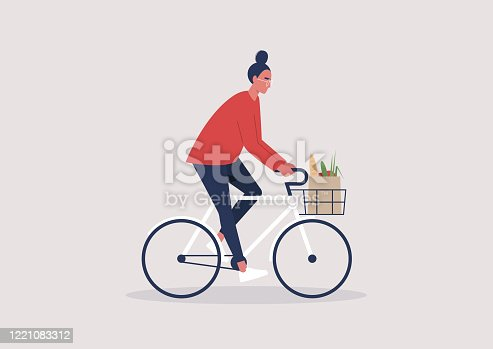 Young female character riding a bike, millennial lifestyle, daily routine