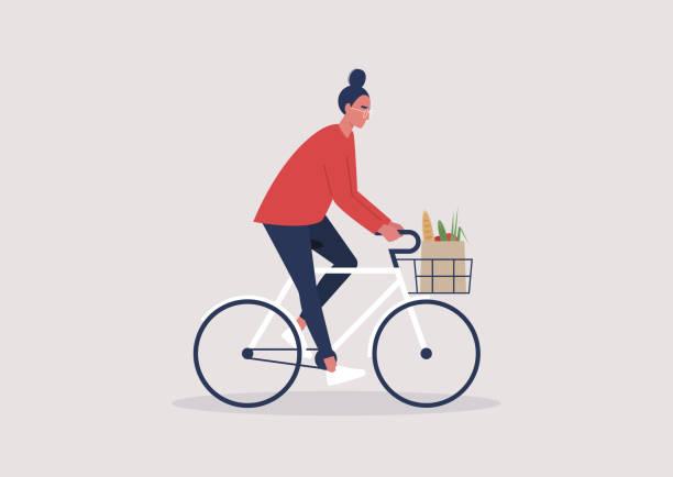 junge weibliche charakter fahren ein fahrrad, millennial lifestyle, alltag - fahrrad stock-grafiken, -clipart, -cartoons und -symbole
