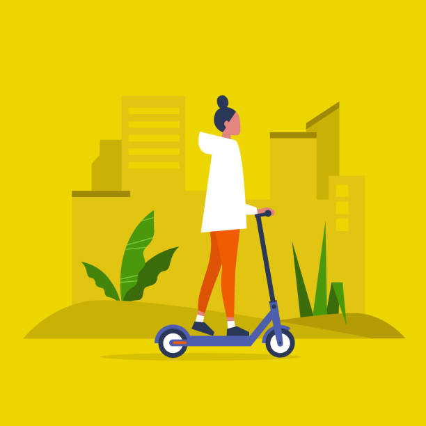 Best Push Scooter Illustrations Royalty Free Vector