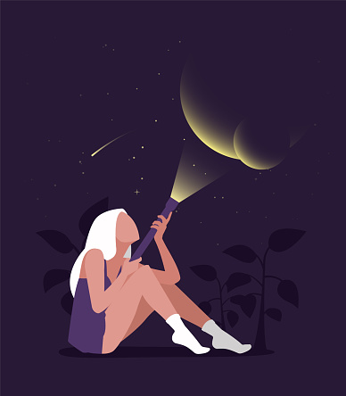 Young female character sitting and holding a flashlight and illuminate dots. Flat editable vector illustration, clip art