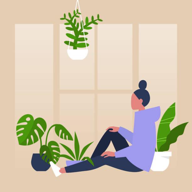 Jonge vrouwelijke karakterzitting door het venster dat door huisinstallaties wordt omringd, meditatieve ontspanningvectorkunst illustratie