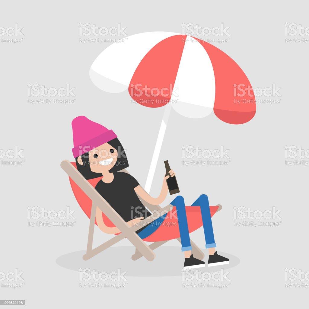 Mann und frau im liegestuhl clipart  Junge Weibliche Figur In Eine Liege Unter Dem Sonnenschirm Sitzen ...
