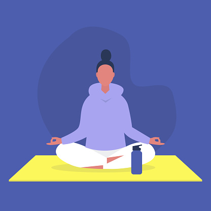 Young female character sitting in a lotus position, relaxation and meditation, yoga studio