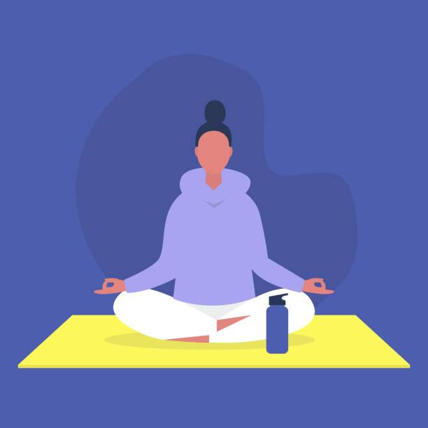 stockillustraties, clipart, cartoons en iconen met jong vrouwelijk personage zittend in een lotuspositie, ontspanning en meditatie, yoga studio - woman water