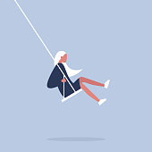 Young female character sitting on a swing. Modern lifestyle. Having fun. Flat editable vector illustration, clip art