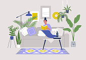 Young female character sitting on sofa and reading a book, cozy boho interior with plants and ethnic decoration, stay at home