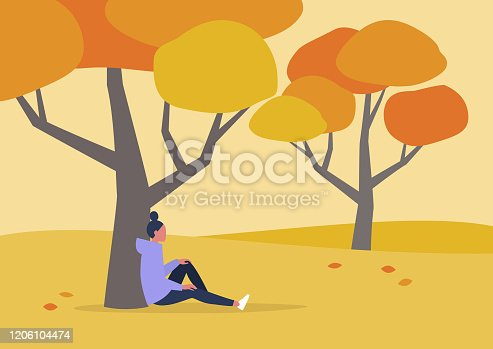 istock Young female character sitting under the tree, autumn outdoor leisure, hiking 1206104474