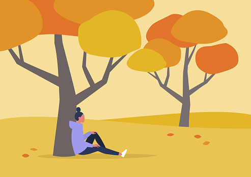Young female character sitting under the tree, autumn outdoor leisure, hiking