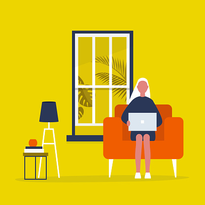 Young female character sitting with a laptop in a living room. Modern office interior. Millennials at work. Flat editable vector illustration, clip art