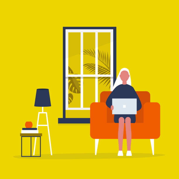 ilustrações de stock, clip art, desenhos animados e ícones de young female character sitting with a laptop in a living room. modern office interior. millennials at work. flat editable vector illustration, clip art - sala