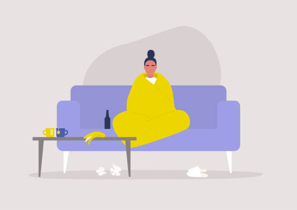 illustrazioni stock, clip art, cartoni animati e icone di tendenza di young female character sitting wrapped in a blanket, depression and anxiety, self isolation, stay at home order - divano procrastinazione