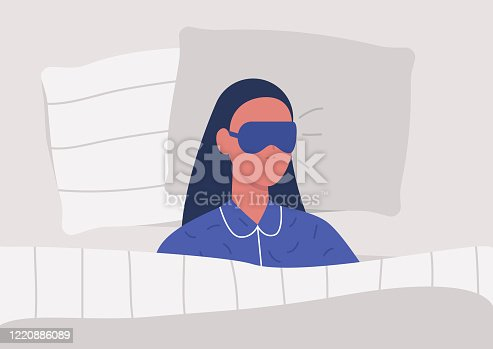 istock Young female character sleeping in bed, top view, bedroom in a morning 1220886089