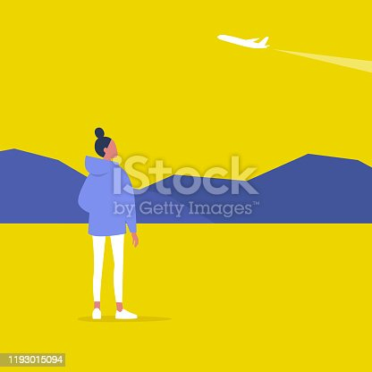 Young female character spotting a plane, outdoor leisure, modern lifestyle