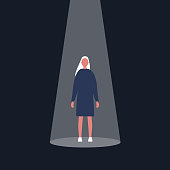 Young female character standing in the spotlight. Glory. Fame. Being on stage / flat editable vector illustration