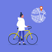 Young female character standing with a bike. Urban transport. Healthy lifestyle. Using a navigational app. Map and geo tag. Millennials and devices.