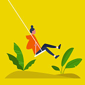 Young female character swinging on a swing. Modern lifestyle. Summer. Having fun. Flat editable vector illustration, clip art