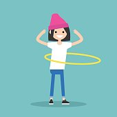 Young female character twirling a hoop around the waist / flat editable vector illustration, clip art