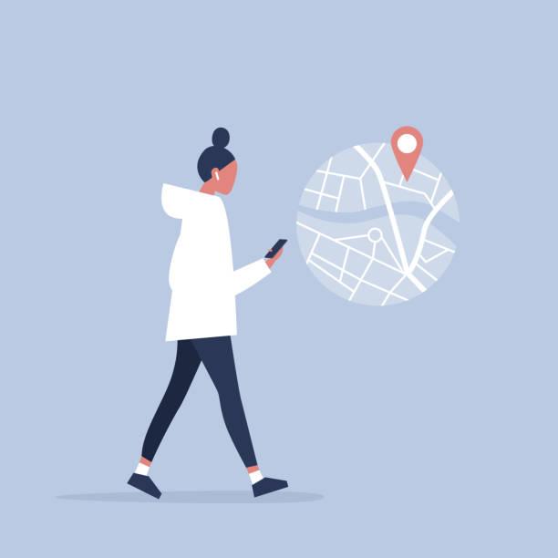 junge weibliche figur mit einer navigations app karte und geo-tag. millennials und geräte. flach bearbeitbares vektor-illustration, clipart - frau handy stock-grafiken, -clipart, -cartoons und -symbole