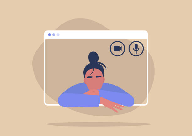 Young female character using a video call interface, remote online meeting, social distancing, working from home Young female character using a video call interface, remote online meeting, social distancing, working from home zoom stock illustrations