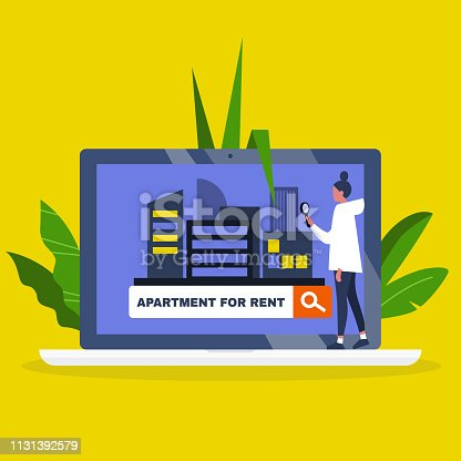 Young female character using an online platform to find an apartment for rent / House renting service. Flat editable vector illustration, clip art