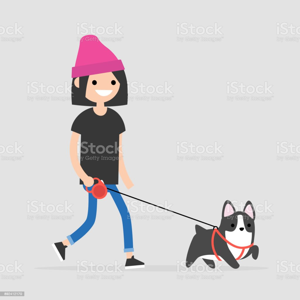 Young female character walking a dog. Pet owner. Flat editable vector illustration, clip art