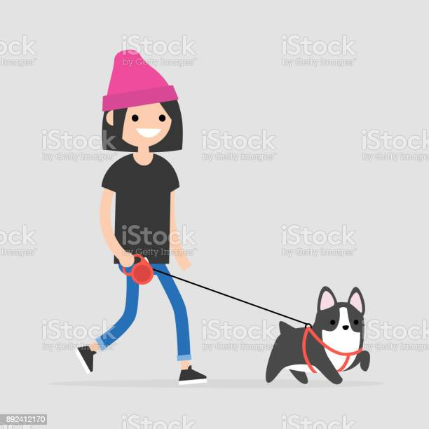 Young female character walking a dog pet owner flat editable vector vector id892412170?b=1&k=6&m=892412170&s=612x612&h=aconch9oas wwgrxgihtpg3dpbznhtcmalrqij4n hy=