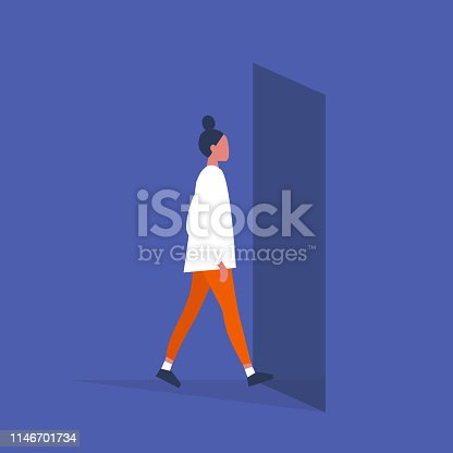 Young female character walking through a doorway. Daily life. Flat editable vector illustration, clip art