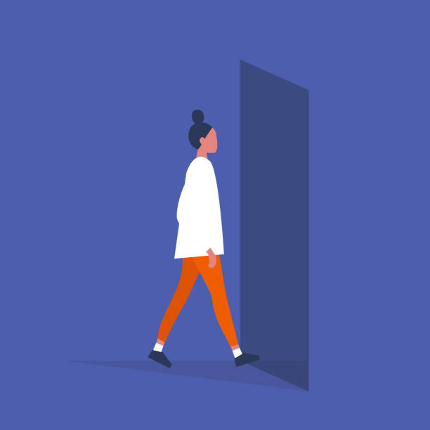 Young female character walking through a doorway. Daily life. Flat editable vector illustration, clip art Young female character walking through a doorway. Daily life. Flat editable vector illustration, clip art door stock illustrations