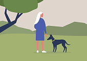 Young female character walking with their dog in the woods, outdoor leisure activities, summer time