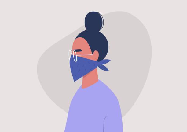 bildbanksillustrationer, clip art samt tecknat material och ikoner med ung kvinnlig karaktär bär en bandana som ansiktsmask, coronavirus skydd, luftvägssjukdom - face mask