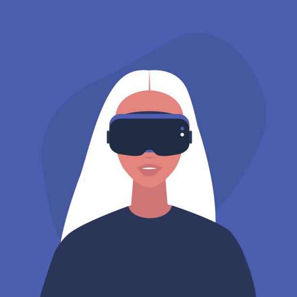 illustrazioni stock, clip art, cartoni animati e icone di tendenza di young female character wearing a virtual reality headset, millennial gadgets and lifestyle - ritratto 360 gradi