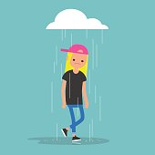 Young female character weeping in the rain / flat editable vector illustration, clip art