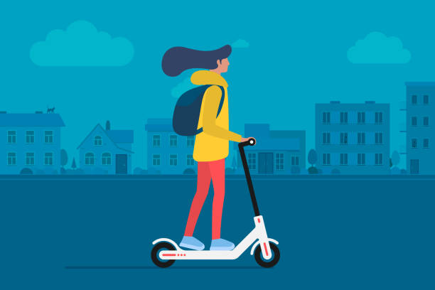 illustrazioni stock, clip art, cartoni animati e icone di tendenza di young female character with backpack ride modern urban transport electric kick scooter. active hipster adult millennial uses lifestyle ecology technologies. vector illustration on cityscape - monopattino elettrico