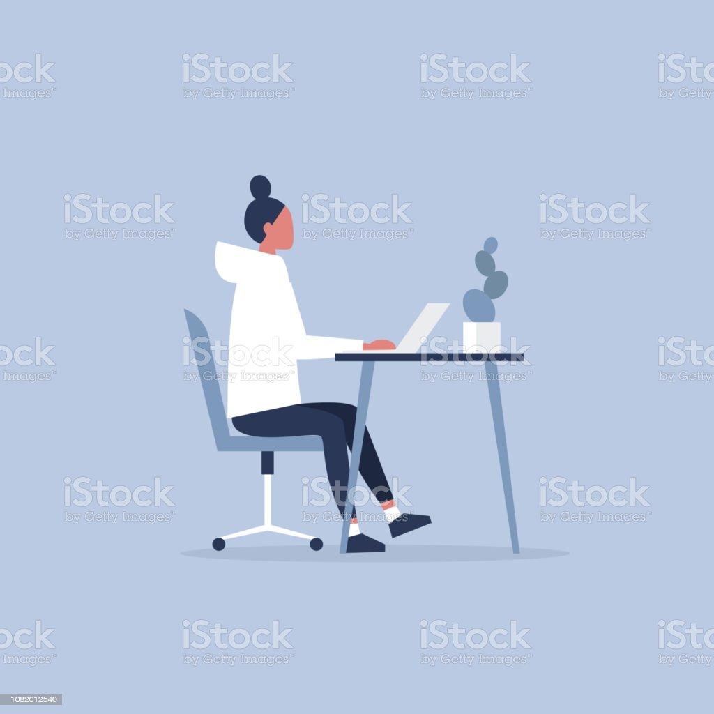 Personaje femenino joven trabajando en la oficina. Muebles. Gabinete. Espacio de trabajo. Millennials en el trabajo. Ilustración de vector completamente editable, Prediseñadas - arte vectorial de Adolescente libre de derechos