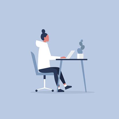 Ilustración de Personaje Femenino Joven Trabajando En La Oficina Muebles Gabinete Espacio De Trabajo Millennials En El Trabajo Ilustración De Vector Completamente Editable Prediseñadas y más Vectores Libres de Derechos de Adolescente