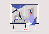 Young female character working in the office, window cityscape view, millennials at work
