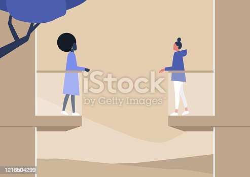 Young female characters standing on the balcony, quarantine concept, stay at home