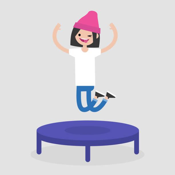 ilustraciones, imágenes clip art, dibujos animados e iconos de stock de joven alegre protagonista saltando en el trampolín. ocio activo. ilustración de vector completamente editable, prediseñadas - emoji perezoso