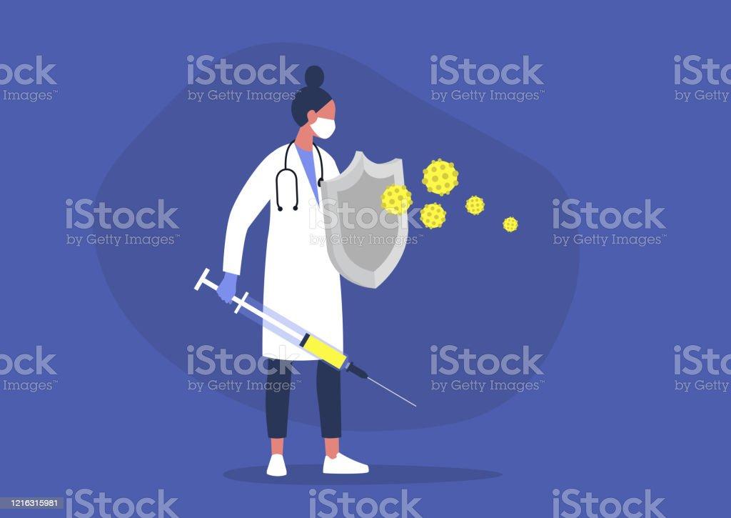 칼과 방패, 건강 관리, 면역 체계, 예방 접종으로 바이러스와 싸우는 젊은 여성 의사 - 로열티 프리 건강 진단 벡터 아트