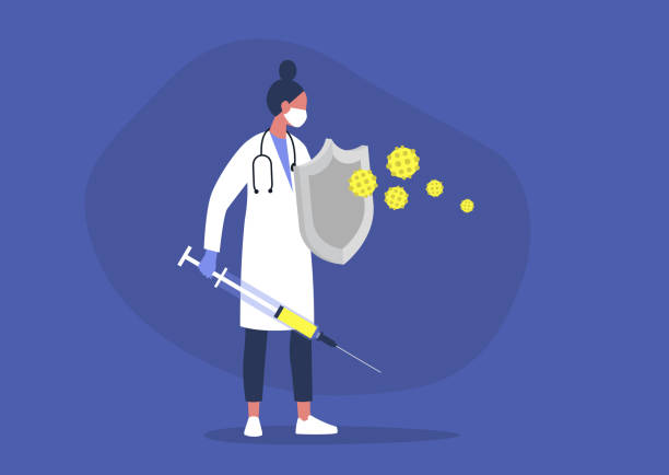 young female doctor fighting the virus with a sword and shield, healthcare, the immune system, vaccination - vaccine stock illustrations