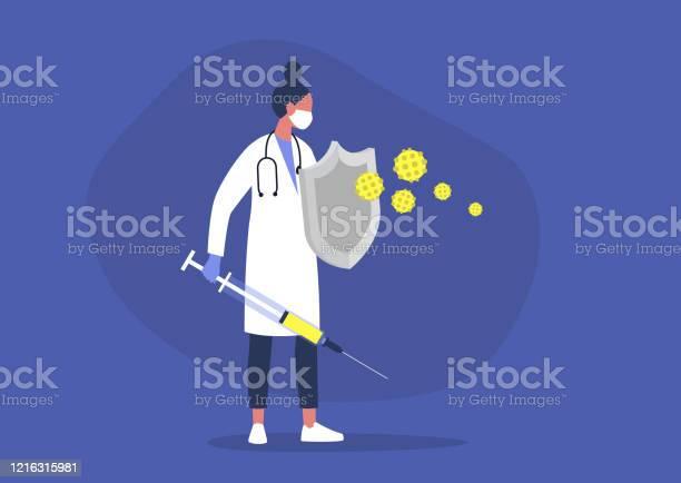 칼과 방패 건강 관리 면역 체계 예방 접종으로 바이러스와 싸우는 젊은 여성 의사 건강 진단에 대한 스톡 벡터 아트 및 기타 이미지
