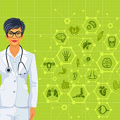 Young Female Doctor with medical background