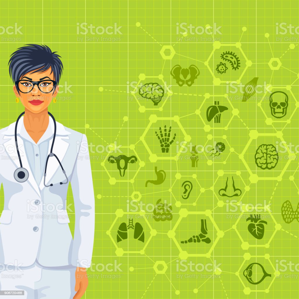Young Female Doctor vector art illustration