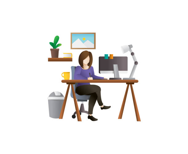 young female freelancer vector illustration - working from home stock illustrations